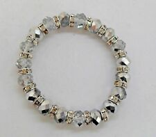 Silver/Clear Crystal Faceted Bracelet with Silver Diamante Spacer Beads