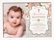 Baptism Invitation Floral Christening Invite Naming Day Vintage Gold Communion
