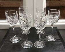 "SET OF 6 TALL CRYSTAL CUT GLASS PORT GLASSES 6 1/4"" High"