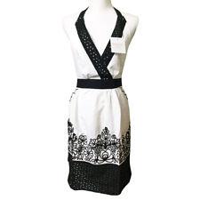 Floral Apron Embroidered Eyelet En Vogue Adult Cotton Black White Retro Baking
