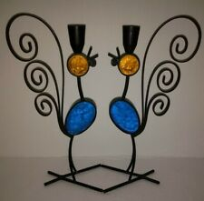 2 VINTAGE Black Wrought Iron & Colored Glass Rooster Chicken Candlestick Holders
