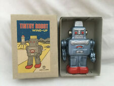 Vintage Y Marked JAPAN Small Blue TIN Litho WIND UP ROBOT in Original Box Yone ?