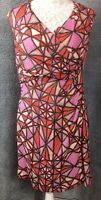 MINUET PETITE Size 14 Dress Orange Pink Geometric Silk Blend Crossover Ruched