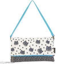 Laurel Burch FLAP CLUTCH Polka Dot Gatos Cat Face Med Shoulder Bag NEW 2016