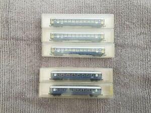 VINTAGE MINITRIX N SCALE / N GAUGE SWISS FEDERAL RAILWAYS MODEL CARRIAGES X 5