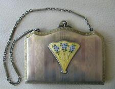 Antique Silver Yellow Guilloche Blue Fan Bar Chain Lipstick Compact MARATHON