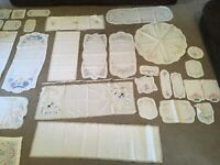 Large Lot Antique Victorian Lace crocheted doileys table runners Wedding decor