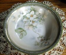 "Vintage German Serving 9 1/2"" Bowl Green & White w/ White Flowers ~"