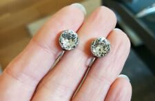 79A Antique Victorian Rock Crystal screw on earrings silver  READ DESCRIPT