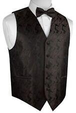 MEN'S CHOCOLATE PAISLEY FORMAL DRESS TUXEDO VEST & BOW-TIE SET. WEDDING PROM