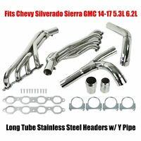 Long Tube SS Headers w/ Y Pipe Fits Chevy Silverado Sierra GMC 14-17 5.3L 6.2L