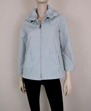NWT KOAN Rain Jacket Coat 3/4 Sleeve Full Zip Drawstring Collar Gray L / 44