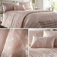 Pink Duvet Covers Geometric Jacquard Shimmer Blush Quilt Cover Bedding Sets