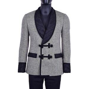 DOLCE & GABBANA Wool Baroque Blazer Jacket Tuxedo Gray Black Rope Closure 06870