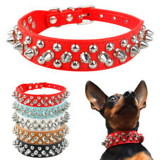 Spiked Studded Rivets Small Dog Collar PU Leather Adjustable Chihuahua Black Red
