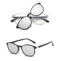 Polarized Magnetic Clip-on Sunglasses Eyeglass Frames Metal Driving Fashion Rx