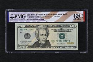 2017 Federal Reserve Note New York 20 Dollars Fr#2099-B PMG 68 EPQ Gem UNC