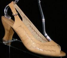 Naya 'Fandanga' tan leather peep toe buckle slingback heel 11W