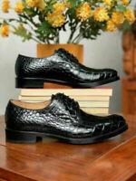 Chaussures habillées à lacets derby en cuir noir véritable pour hommes faits à