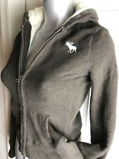 Women's Abercrombie BROWN Sweater Cable Knit Lined Zip Up Hoodie size M