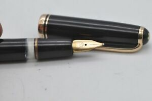 Lovely Rare Vintage Montblanc No256 Fountain Pen Black & Gold Working 14ct Gold