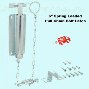 """Spring Loaded Pull Chain Bolt Latch  6""""  Zinc Finish  Barn Shed Gate Security"""