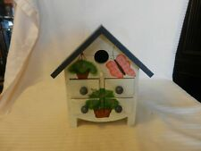 Wooden Small Bird House Style Tabletop Trinket Storage With 4 Small Drawers