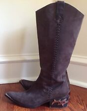 Donald J. Pliner Western Couture Collection Women's Brown Jewel Boots Size 8 M