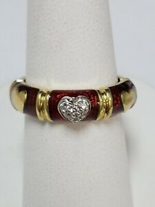 750  18KT yellow gold Hidalgo ring with red enamel and diamonds size 6.5 dn ef