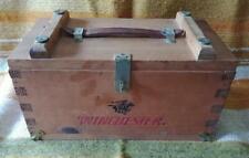 WINCHESTER Empty Wooden AMMO BOX 12 Gauge Shotgun Shells LEATHER HANDLE Hunting