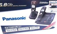 Panasonic KX-TG6072B 5.8GHZ Cordless Answering System Expandable 2 Handsets