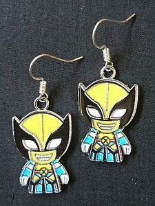 Wolverine enamel charm handmade earrings silver earwires hooks