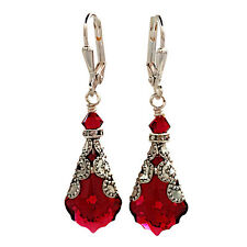 Red Crystal Vintage Inspired Filigree Earrings with Crystal from Swarovski