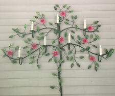 Rewired Tole Italy Rose Tree of Life with Lights Wall Sconce