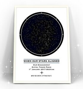 Personalised Star Map Art Print. Gift Wedding Anniversary Engagement Mothers Day