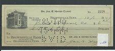 WBC. - assegno-ch1058-utilizzato -1944 / 47-Brownsville Banca, Tennessee, USA