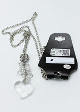 New Silver Necklace with Rhinestones & Heart Pendant  from Lane Bryant #N1052