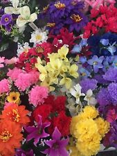 50 Individual Artifical Flowers Joblot Mix Posy Bush Fake Flowers Silk Wholesale