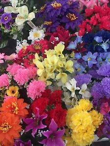 50 Individual Artifical Flowers Joblot Mix Posy Bush Fake Flowers Silk Wholesale