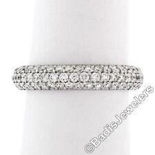 Javda 14K White Gold 2.50ctw Diamond 4.15mm Domed 3 Row Eternity Band Ring Sz 7