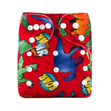 Little Red Dinosaurs MODERN CLOTH NAPPIES SHELL - REUSABLE ADJUSTABLE DIAPERS