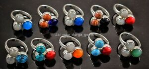 10 Pcs Lot Coral Turquoise Topaz Quartz Onyx Mix 925 Silver Plated Rings RB-46