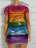 NEW! MATTEL RAINBOW DRESS BARBIE FASHIONISTAS DOLLS CLOTHING CURVY PLAY
