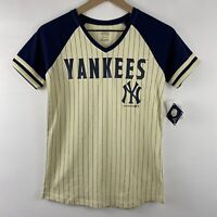 NY Yankees MLB New York Cream & Blue Sparkle Girl's V-Neck Raglan Tee T-Shirt