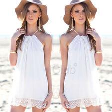 Lace Halter Neck Regular Size Sleeveless Dresses for Women