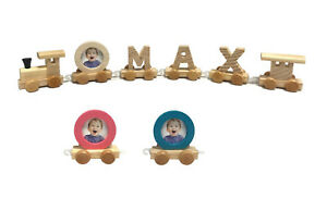 Personalised Wooden Wood Train Letters Alphabet Name Train Set Christening Gift
