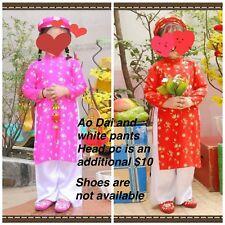 NEW Vietnamese Traditional Dress 4 kids Girls AO DAI TRE EM TET VIET T.Thong