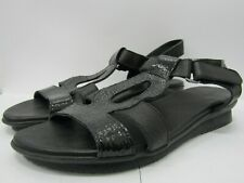 Arche Women's Black Leather Wedge Sandals Size 38 Made in France