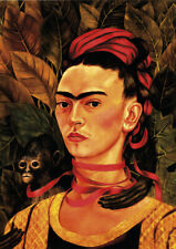Self-portrait with the Monkey - F.Kahlo A4 size 21x29.7cm Canvas Print Unframed