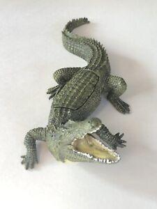 Unusual Antique Franz Bergmann Bronze Crocodile With Nude Lady Signed